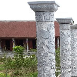 Cột đá xanh đẹp chạm khắc rồng giá hợp lý thiết kế cao cấp