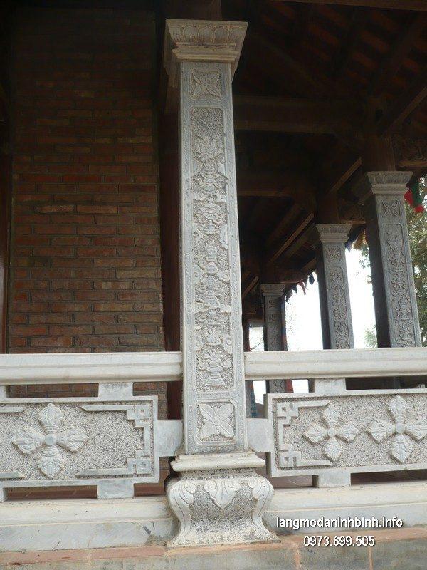 Cột đá xanh đẹp chạm khắc rồng giá hợp lý thiết kế đơn giản