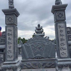 Cột đá xanh đẹp chạm khắc lân giá tốt thiết kế hiện đại