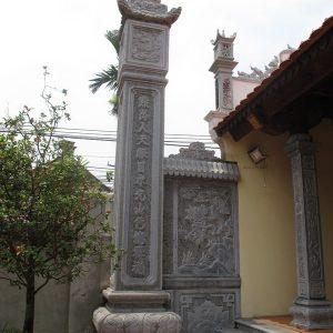 Cột đá xanh đẹp chạm khắc lân giá tốt thiết kế cao cấp