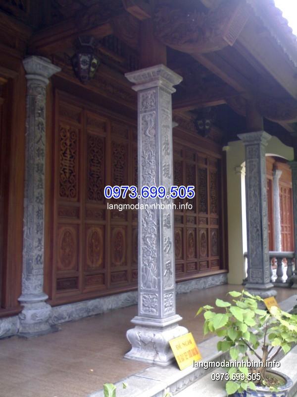Cột đá xanh đẹp chạm khắc lân giá tốt thiết kế đơn giản