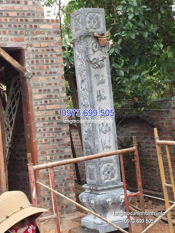 Cột đá xanh đẹp chạm khắc rồng giá rẻ thiết kế cao cấp