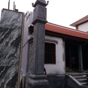 Cột đá xanh đẹp chạm khắc rồng giá tốt thiết kế cao cấp