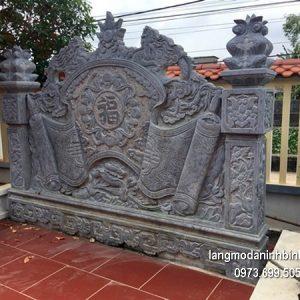 Mẫu cuốn thư đá chạm khắc đẹp chấn phong thủy cho khu lăng mộ
