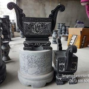 Lư hương đá đặt nhà chùa hoa văn tinh xảo thiết kế đơn giản giá tốt
