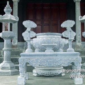 Lư hương đá đặt nhà chùa hoa văn tinh xảo thiết kế đơn giản giá rẻ