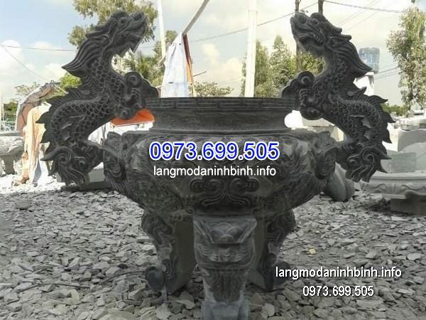 Lư hương đá đặt nhà chùa hoa văn tinh xảo thiết kế cao cấp giá hợp lý