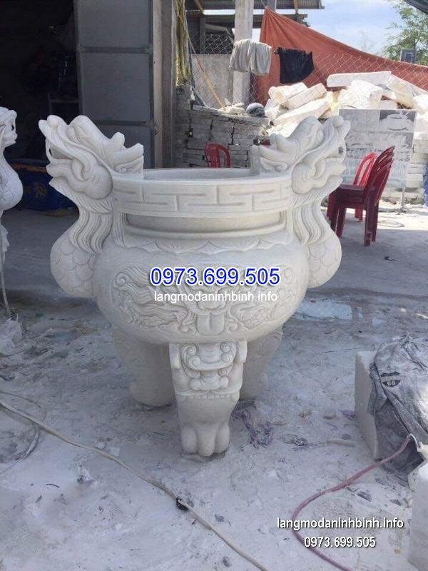 Lư hương đá đặt nhà chùa hoa văn tinh xảo thiết kế cao cấp giá tốt