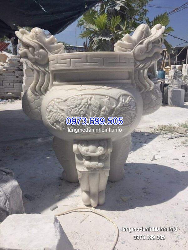 Lư hương đá đặt nhà chùa hoa văn tinh xảo thiết kế cao cấp giá rẻ