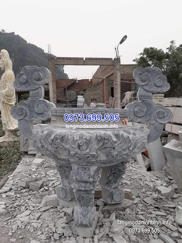 Lư hương đá đặt nhà chùa hoa văn tinh xảo thiết kế hiện đại giá tốt