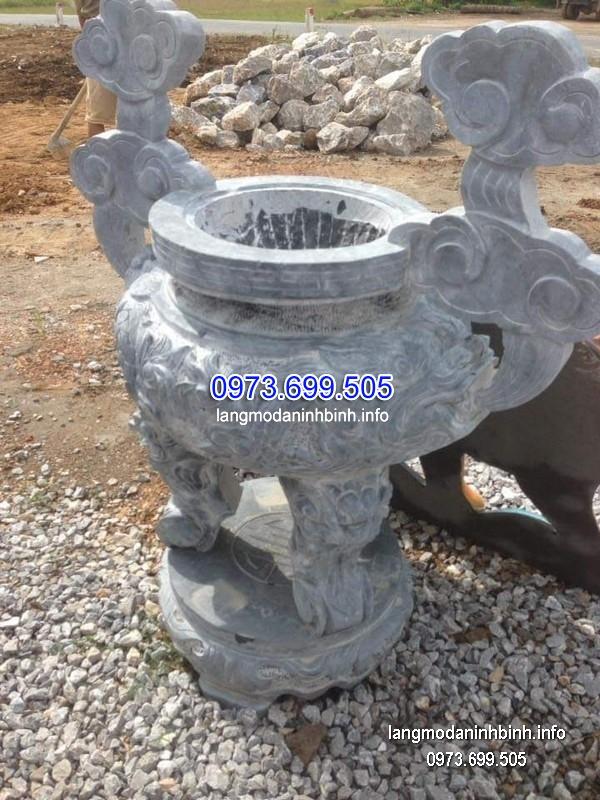 Lư hương đá đặt nhà chùa hoa văn tinh xảo chất lượng cao giá hợp lý