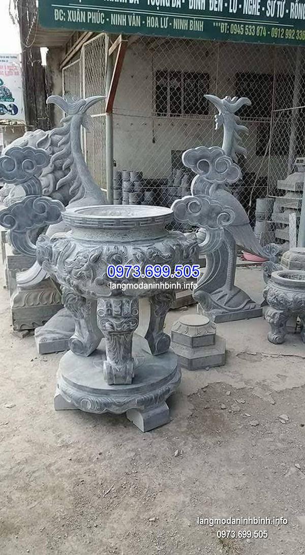 Lư hương đá đặt nhà chùa hoa văn tinh xảo chất lượng cao giá rẻ