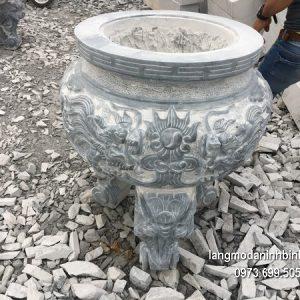 Lư hương đá đặt nhà chùa hoa văn tinh tế thiết kế đơn giản giá tốt