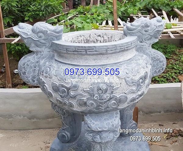 Lư hương đá đặt nhà chùa hoa văn tinh tế thiết kế đơn giản giá rẻ