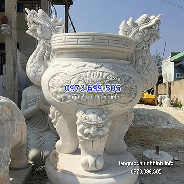 Lư hương đá đặt nhà chùa hoa văn tinh tế thiết kế hiện đại giá hợp lý