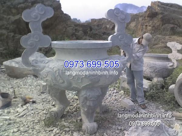 Lư hương đá đặt nhà chùa hoa văn tinh tế thiết kế hiện đại giá tốt