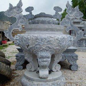 Lư hương đá đặt nhà chùa hoa văn tinh tế thiết kế hiện đại giá rẻ