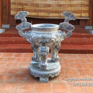 Lư hương đá đặt nhà chùa hoa văn tinh tế chất lượng cao giá hợp lý