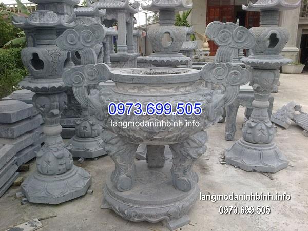Lư hương đá đặt nhà chùa hoa văn tinh tế chất lượng cao giá rẻ