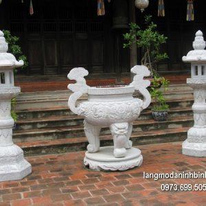 Lư hương đá đặt nhà chùa chạm khắc tinh xảo thiết kế đơn giản giá tốt