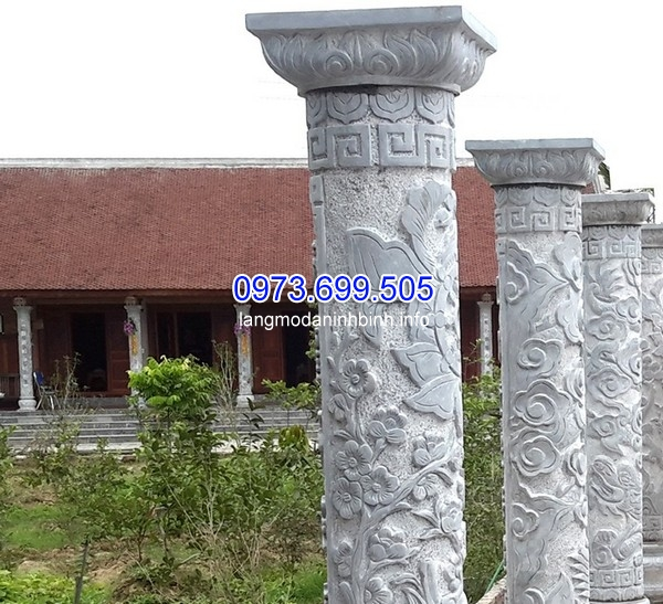 Mẫu cột cổng đá đẹp được chạm khắc tinh xảo