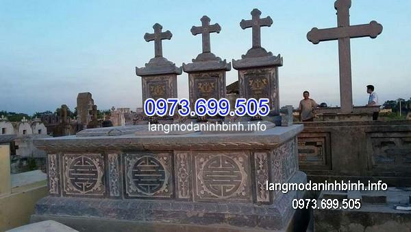 Mộ công giáo đá tự nhiên chạm khắc đẹp chất lượng cao giá tốt