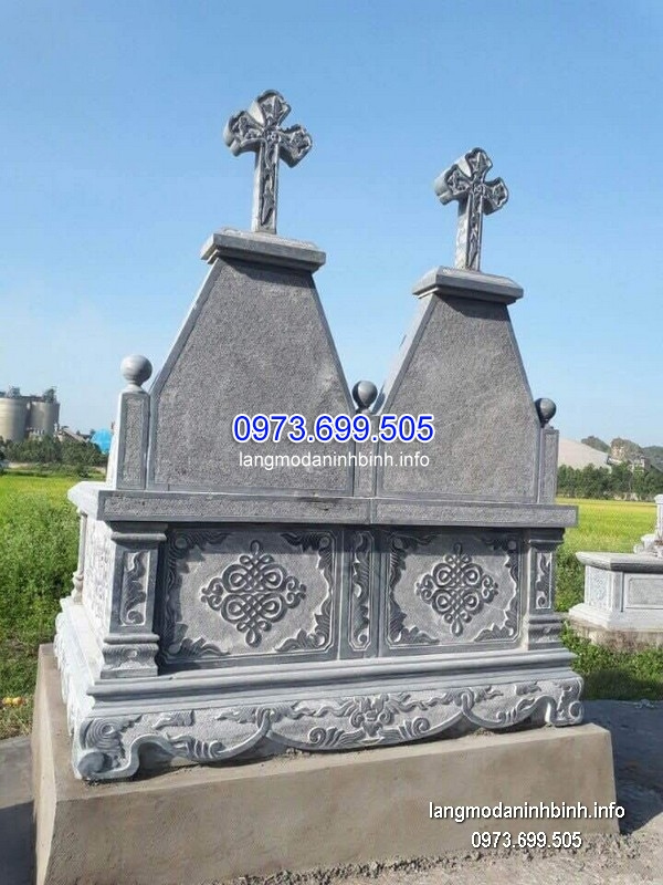 Mộ công giáo đá tự nhiên chạm khắc tinh tế chất lượng tốt giá tốt