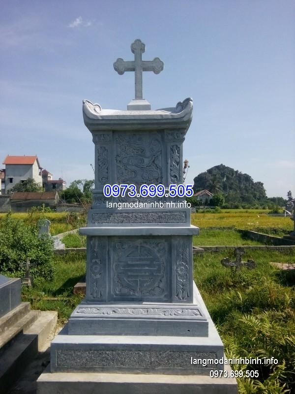 Mộ công giáo đá tự nhiên chạm khắc tinh xảo chất lượng cao giá tốt