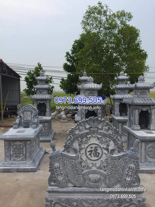 Mẫu mộ hai mái đá khối hoa văn đẹp chất lượng cao giá hợp lý
