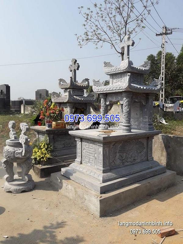 Mẫu mộ hai mái đá khối hoa văn đẹp chất lượng tốt giá rẻ