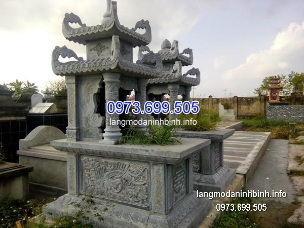 Mẫu mộ đá hai mái nguyên khối chạm khắc đẹp chất lượng tốt giá hợp lý