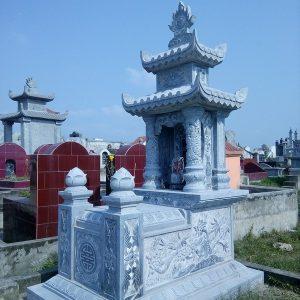 Mẫu mộ hai mái đá khối chạm trổ đẹp chất lượng cao giá tốt