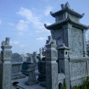 Mẫu mộ hai mái đá khối hoa văn tinh tế chất lượng cao giá hợp lý