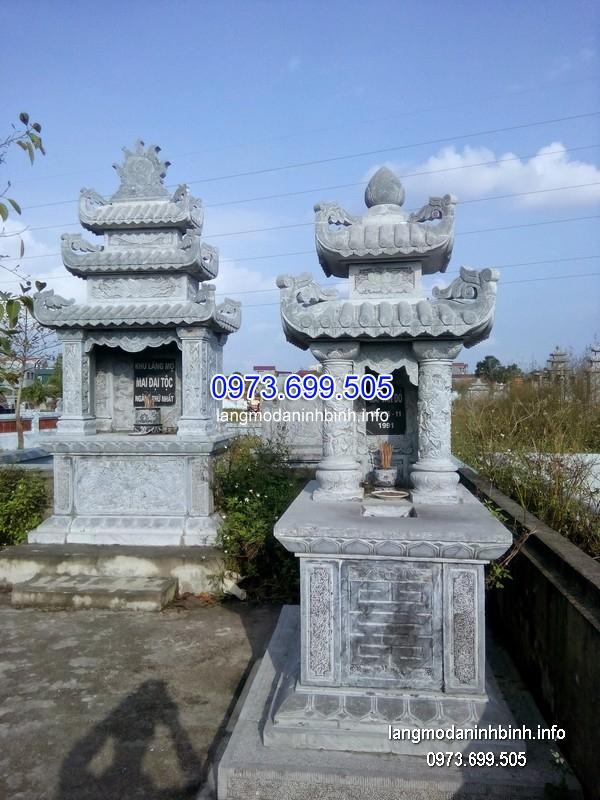 Mẫu mộ hai mái đá khối hoa văn tinh tế chất lượng tốt giá rẻ