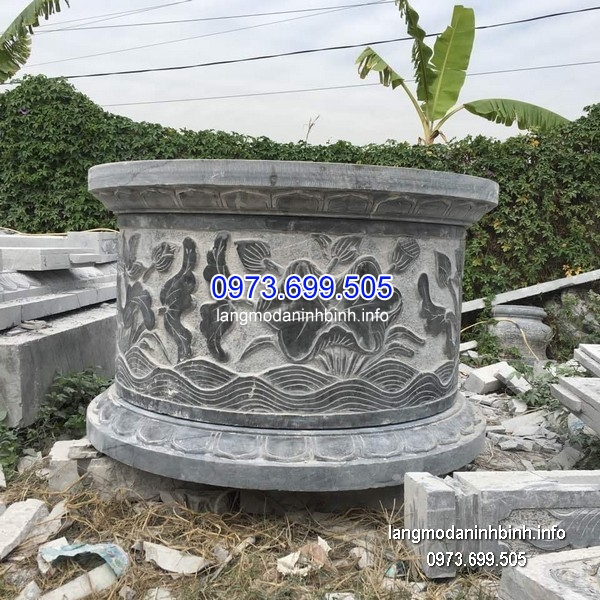 Mộ tròn đá tự nhiên chạm trổ đẹp chất lượng cao giá tốt