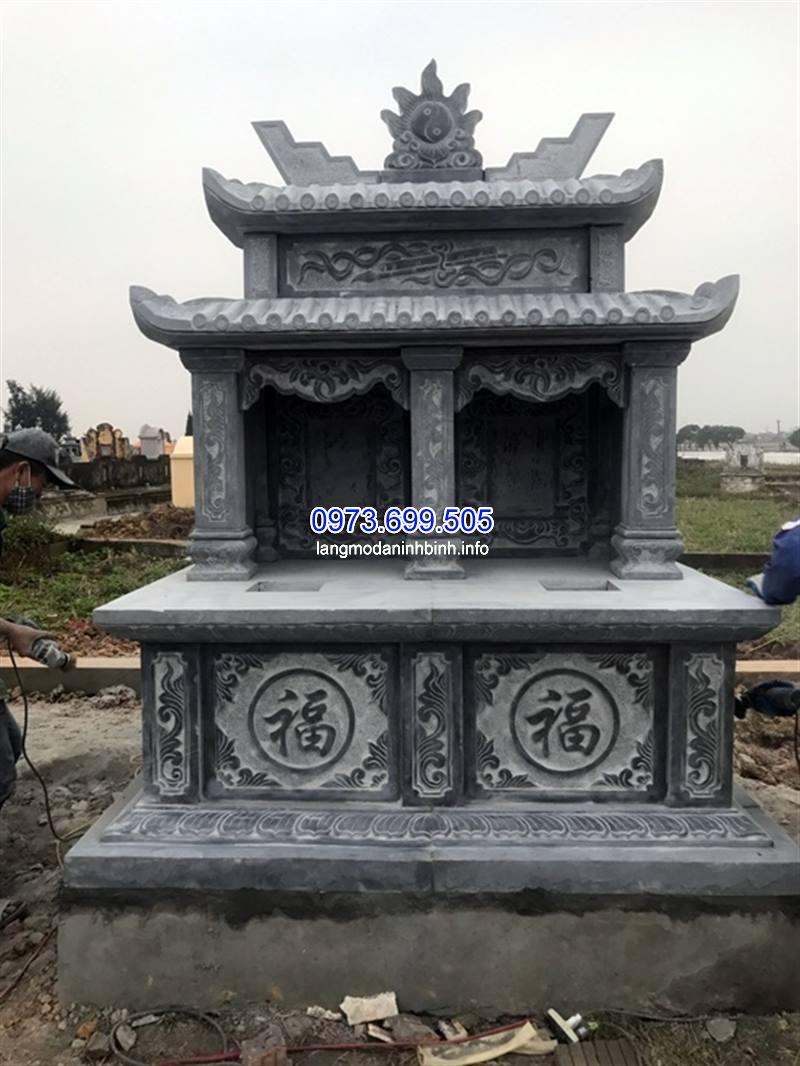 Mẫu mộ đôi hai mái đá đẹp, Xây mộ đá đôi hai mái kích thước chuẩn phong thủy