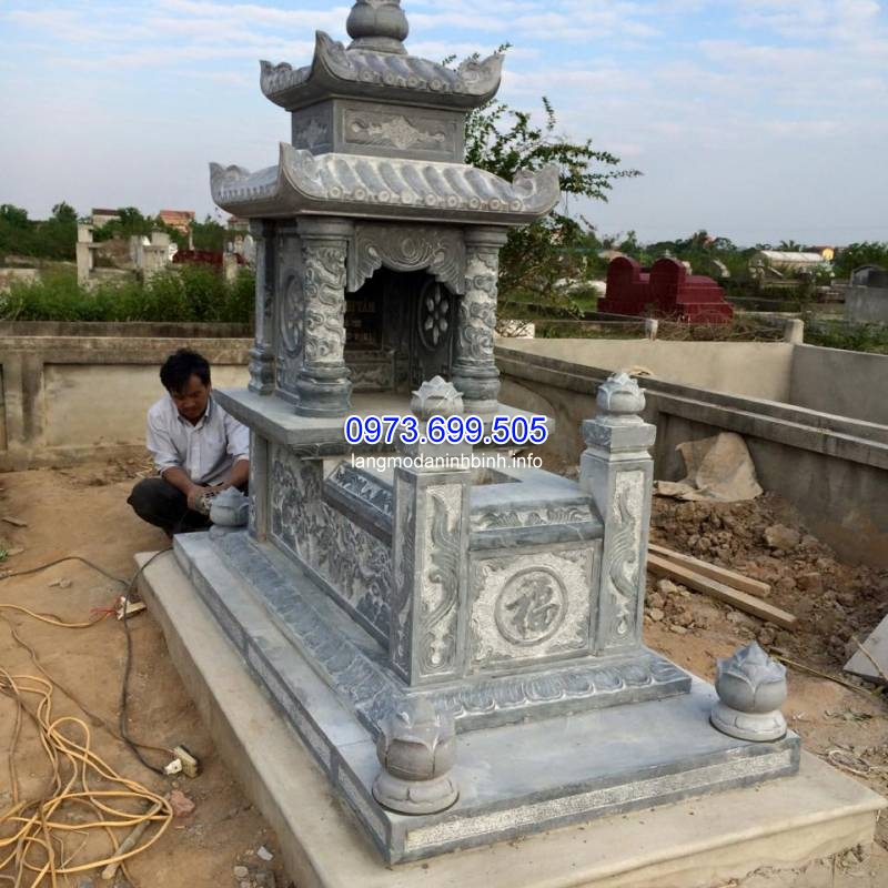Kích thước xây mộ hai mái đá đẹp