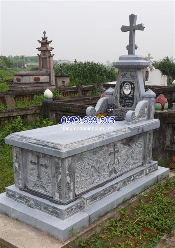 Mẫu mộ công giáo bằng đá đẹp tại Ninh Vân Ninh Bình