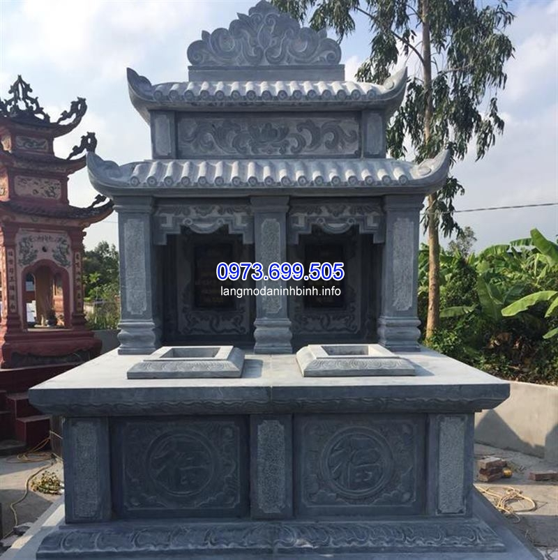 Mẫu mộ đôi hai mái chuẩn kích thước phong thủy