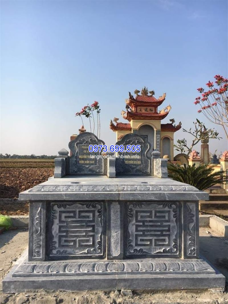 Mẫu mộ đôi không mái đẹp được làm từ đá xanh nguyên khối