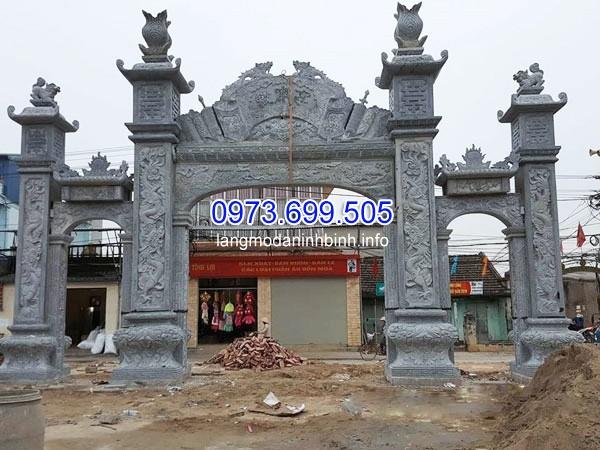 Mẫu cột đá vuông sử dụng làm cổng đình chùa