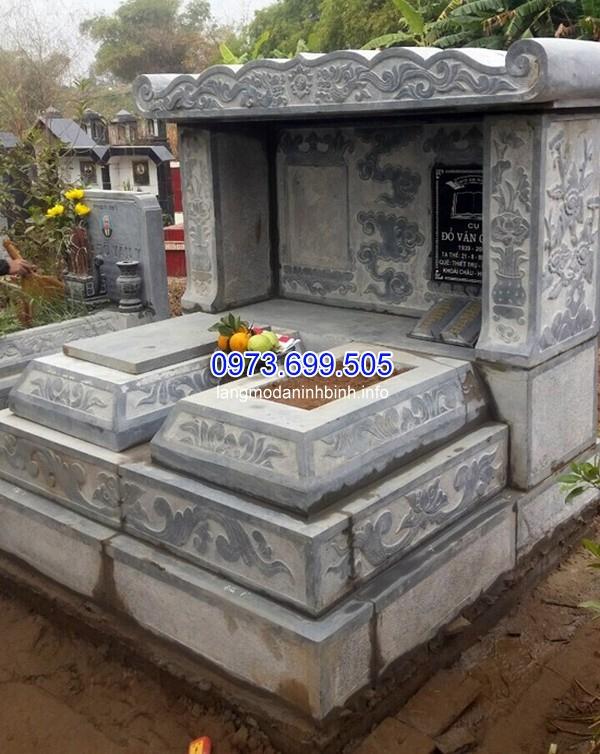 Mẫu mộ đá đôi điêu khắc đơn giản
