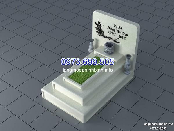 Mẫu mộ đá trắng xây đơn giản