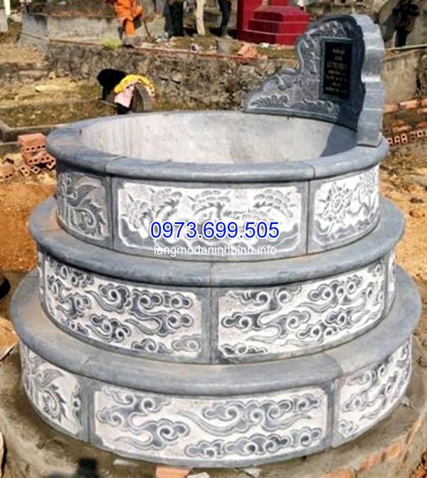 Mẫu mộ đá tròn xây đơn giản