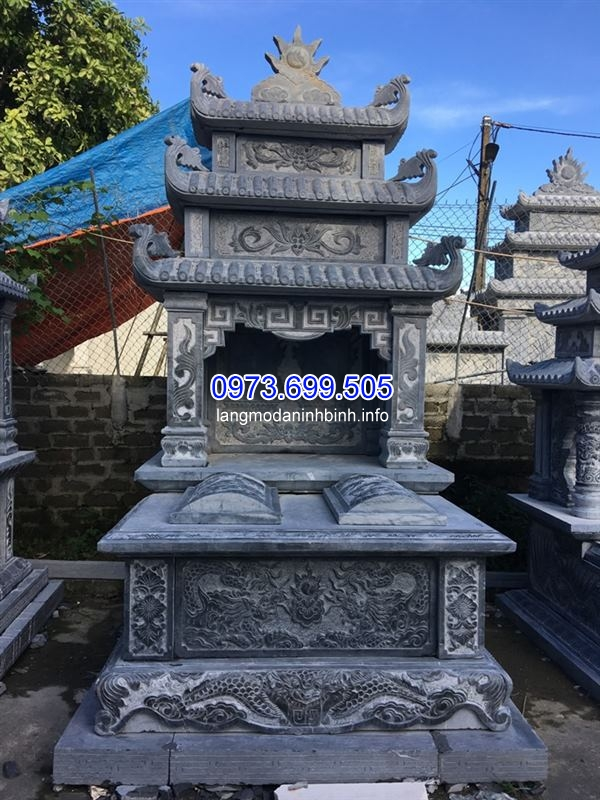 Kích thước mộ đôi ba mái bằng đá đẹp nhất hiện nay