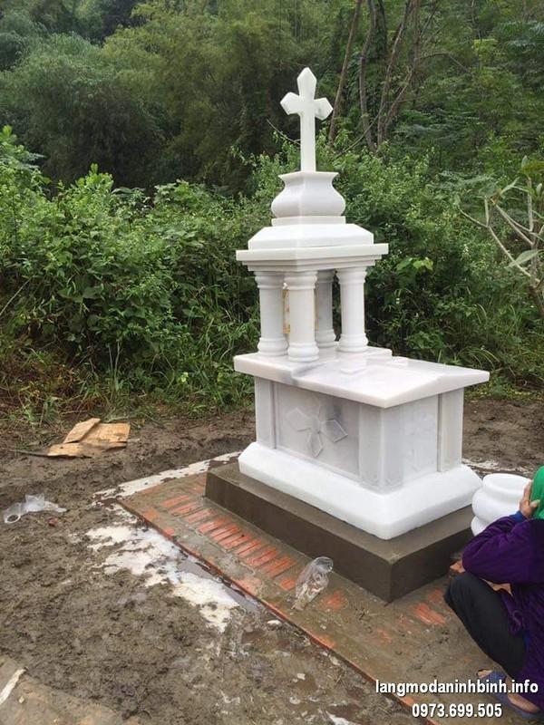 Mẫu mộ đá trắng công giáo đẹp