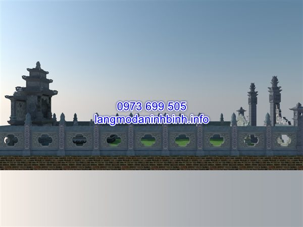 bản vẽ thiết kế lan can đá khu lăng mộ tại Hải Dương