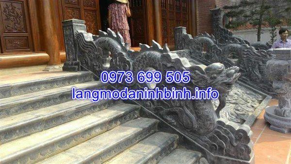 Mẫu rồng đá bậc tam cấp đình chùa đẹp hoa văn tinh tế