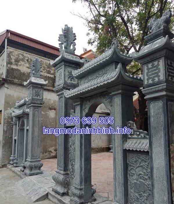Mẫu cổng đá từ đường nhà thờ họ bằng đá xanh đẹp chất lượng giá tốt;