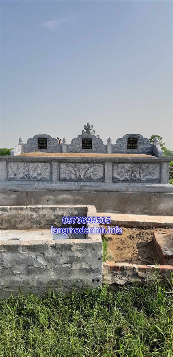 Mãu mộ đôi không mái bằng đá đẹp chuẩn kích thước phong thủy